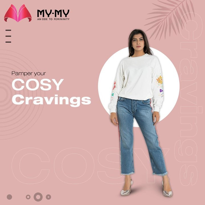 Cosy-up in this winter weather with a comforting white sweatshirt, paired with mom jeans ans pamper yourself.  #MyMy #MyMyCollection #Clothing #Fashion #Outfit #FashionOutfit #Top #Sweatshirt #WhiteSweatshirt #WinterOutfits #Style #WomensFashion #Ahmedabad #SGHighway #SGRoad #CGRoad #Gujarat #India