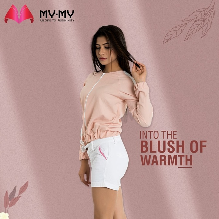 Bring warmth into your closet with a blush jacket.   The blush soothing tones combined with white stripes makes for a very sporty and winter-ready look.   #MyMy #MyMyCollection #Clothing #Fashion #Outfit #FashionOutfit #Jacket #Pullover  #WinterOutfits #Style #WomensFashion #Ahmedabad #SGHighway #SGRoad #CGRoad #Gujarat #India
