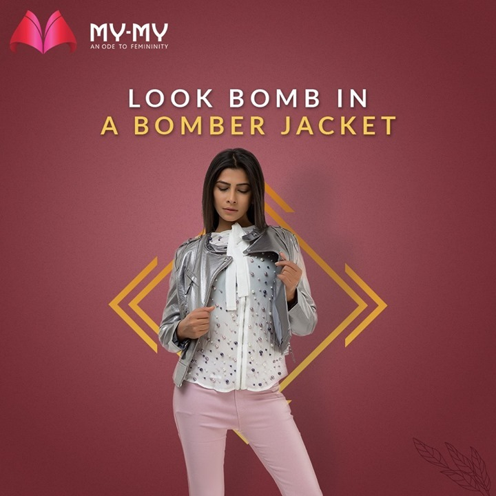 Look Bomb in a Silver Bomber Jacket and pair it with contrasting outfit that gives you nothing less of a #Rockstar look!   #MyMy #MyMyCollection #Clothing #Fashion #Outfit #FashionOutfit #Jacket #BomberJacket #WinterOutfits #Style #WomensFashion #Ahmedabad #SGHighway #SGRoad #CGRoad #Gujarat #India