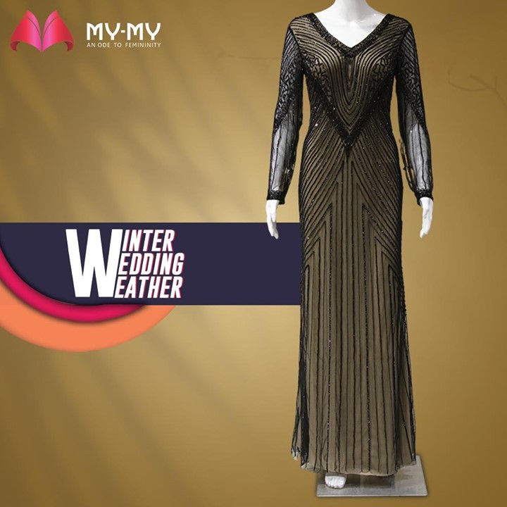 Be Winter Wedding Ready with a shining and sheer gown. The confluence of black and gold never stops to fascinate the muse.  #MyMy #MyMyCollection #Clothing #Fashion #Ethnic #Gown #FestiveGown #WeddingOutfits #EveningGown #Style #WomensFashion #ExculsiveEnsembles #ExclusiveCollection #Ahmedabad #Gujarat #India