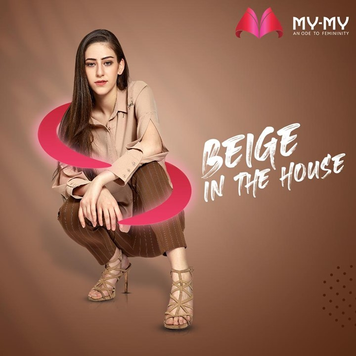 Bring on the Beige!  A beige toned outfit with matching heels, contrasting pants and an ever gleaming face is sure to let you take on the world with confidence.   #MyMy #MyMyCollection #Clothing #Fashion #Outfit #FashionOutfit #Top #Pants #CasualWear #WinterOutfits #Style #WomensFashion #Ahmedabad #SGHighway #SGRoad #CGRoad #Gujarat #India