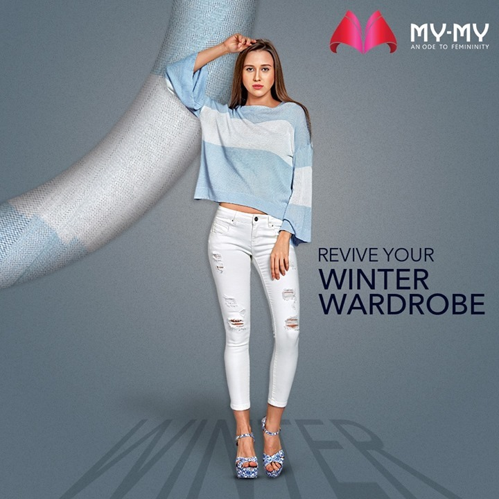 Revive your Winter Wardrobe with latest looks that you will fall in love with! A blue woolen full sleeve top with a white jeans will curate a soothing look making you look chic and casual.  #MyMy #MyMyCollection #Clothing #Fashion #Outfit #FashionOutfit #Tops #Jeans #WinterTops #CasualWear #WinterOutfits #Style #WomensFashion #Ahmedabad #SGHighway #SGRoad #CGRoad #Gujarat #India