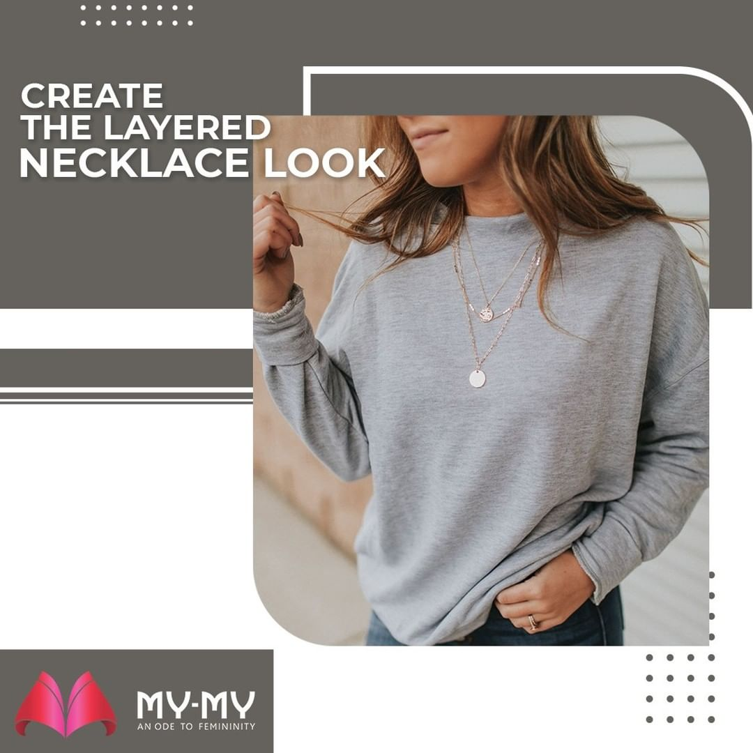 Fashion Tip: Layer the delicate necklaces with chunky chains to get a perfect Layered Necklace Look.  #MyMy #MyMyCollection #Clothing #Fashion #Tees #Shorts #OversizedShirt #Shirt #ShirtsFor #Women #LayeringClothes #Casual #Style #WomensFashion #ExculsiveEnsembles #ExclusiveCollection #Ahmedabad #Gujarat #India