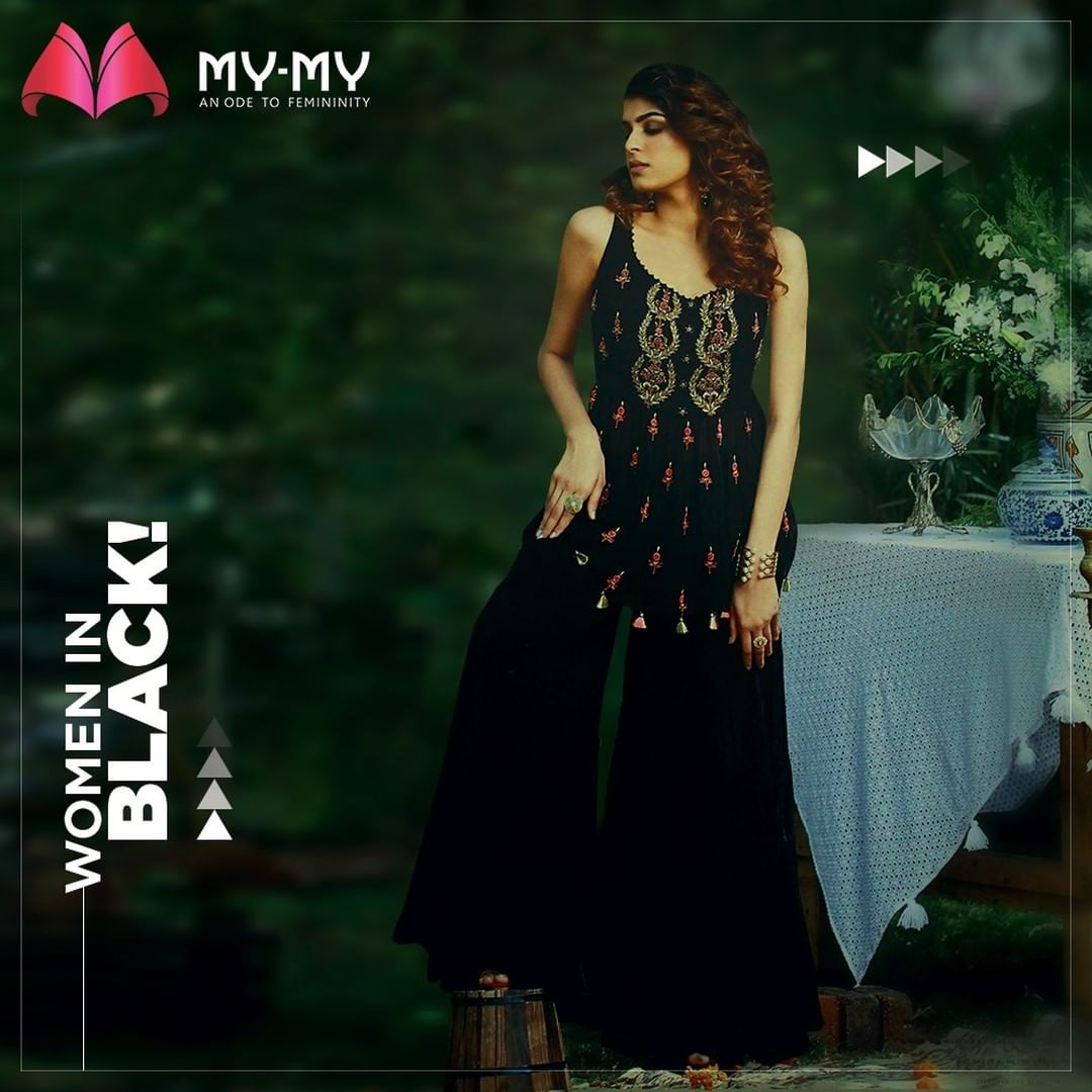 Look Powerful. Look Chic. Women in Black are always on fleek!  #MyMyCollection #Clothing #Fashion #Outfit #FashionOutfit #Dress #Kurta #BlackKurta #EthnicCollection #FestiveWear #WeddingOutfits #Style #WomensFashion #Ahmedabad #SGHighway #SGRoad #CGRoad #Gujarat #India