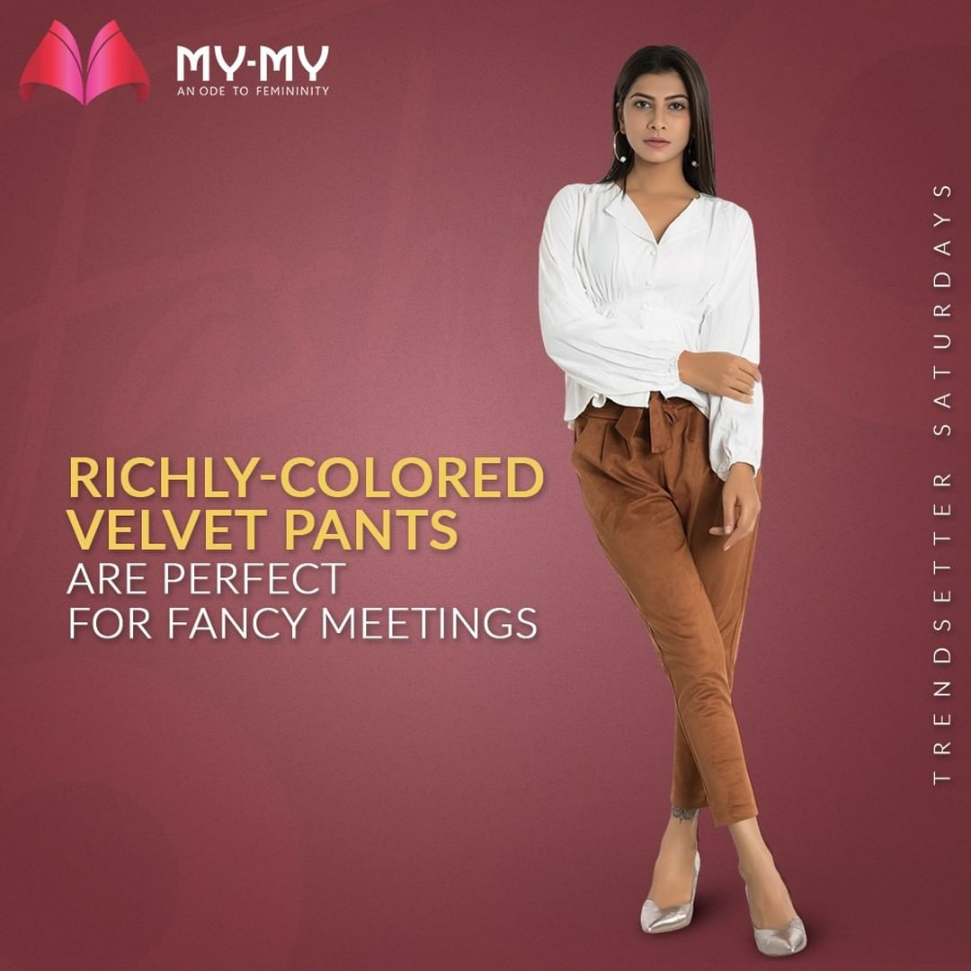 This week on Trendsetter Saturdays, we have Richly-colored Velvet Pants that are perfect for Fancy Meetings.  #TrendsetterSaturdays #MyMy #MyMyCollection #Clothing #Fashion #Outfit #FashionOutfit #Top #Shirt #CasualWear #Pants #Palazzo #VelvetPant #Style #WomensFashion #Ahmedabad #SGHighway #SGRoad #CGRoad #Gujarat #India